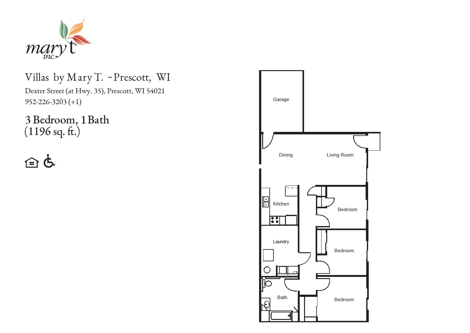 Villas by Mary T of Prescott 3 bedroom floor plan