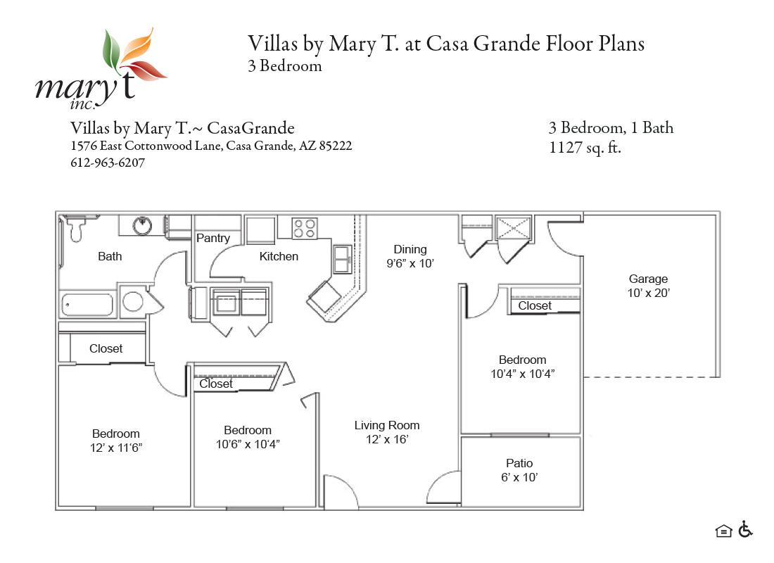 Casa Grande 3 bedroom floor plan