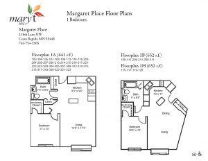 Margaret Place 1 bedroom floor plans