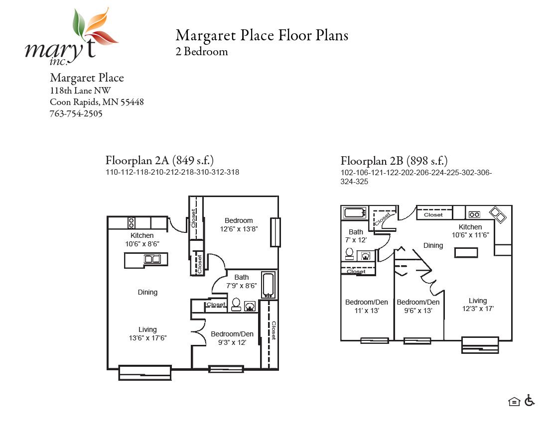 Margaret Place 2 bedroom floor plans