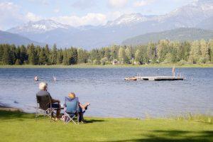 elderly couple enjoying lakefront view